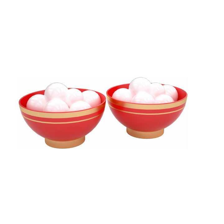 两个红色碗里的汤圆元宵节png图片免抠素材