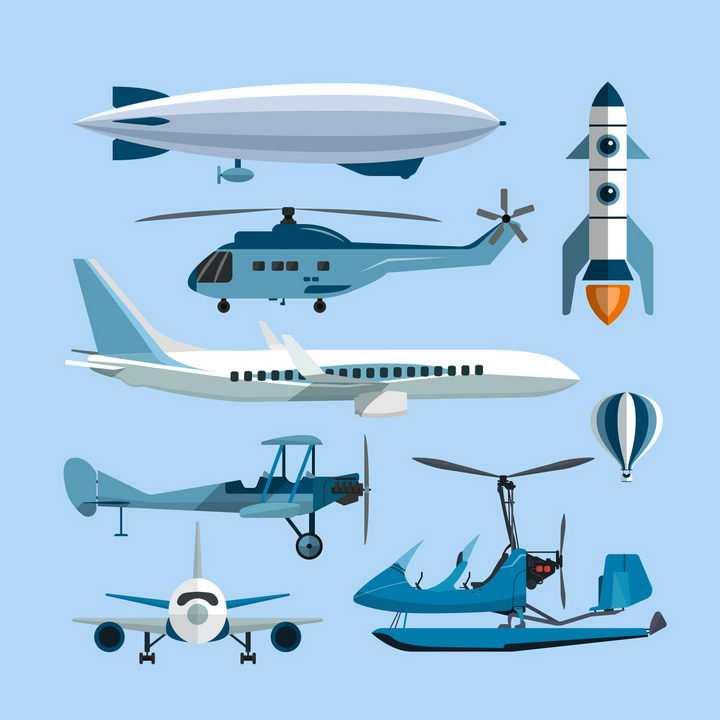 扁平化风格的飞艇直升飞机火箭客机等飞行交通工具png图片免抠eps矢量素材
