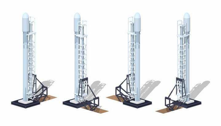 树立在火箭发射架上的Space X猎鹰火箭png图片免抠eps矢量素材