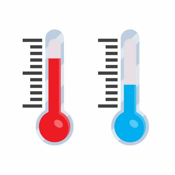 两款扁平化风格温度计高温和低温png图片免抠矢量素材