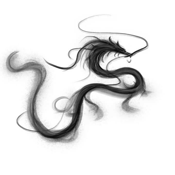 抽象黑色墨水组成的水墨画风格中国龙图案png图片免抠素材