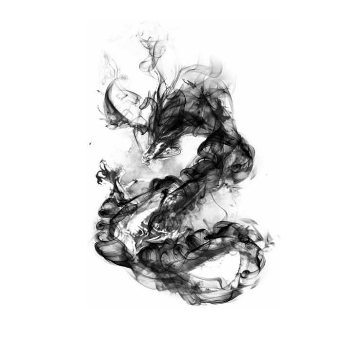 抽象水墨画墨水中国龙png图片免抠素材