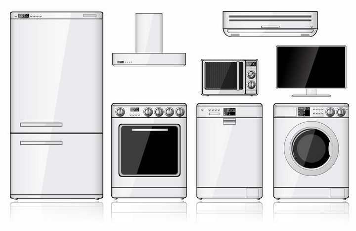 银色电冰箱抽油烟机洗衣机洗碗机微波炉等厨房电器png图片免抠矢量素材