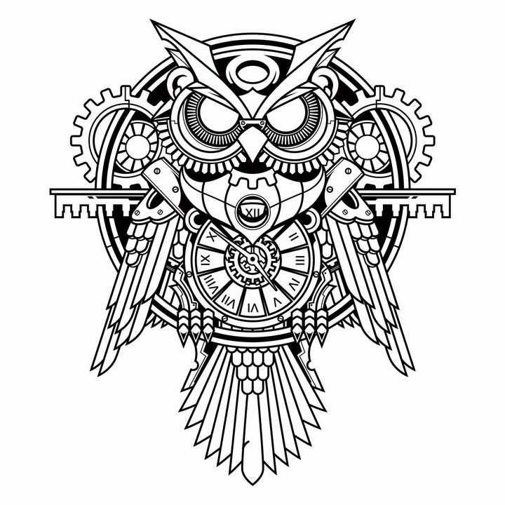 蒸汽朋克机械风格齿轮机器猫头鹰png图片免抠矢量素材
