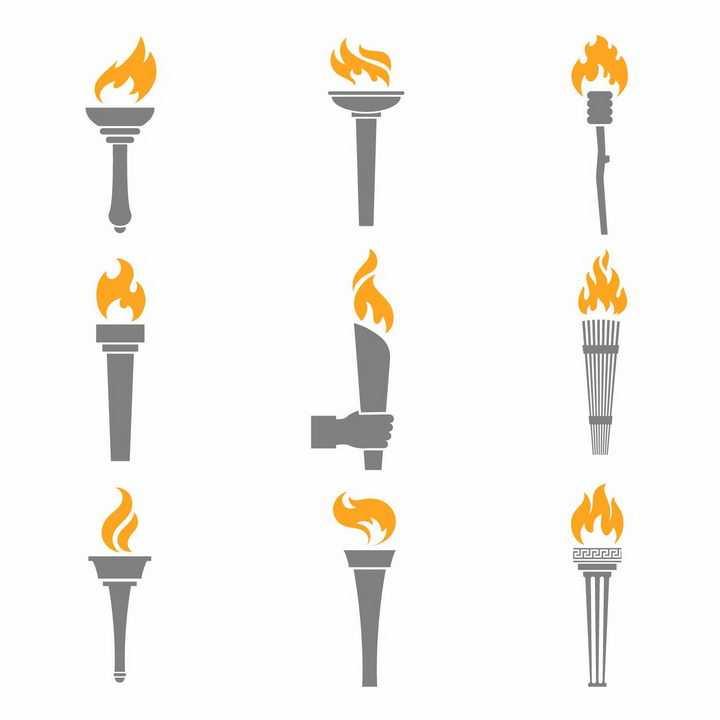 9款燃烧着橙色火焰的灰色奥运火炬png图片免抠矢量素材
