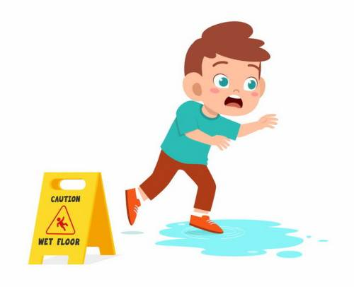 踩到水渍差点滑倒的卡通小男孩当心滑倒png图片免抠矢量素材
