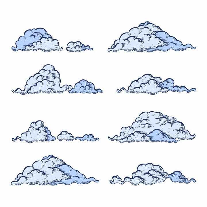 8款手绘涂鸦风格的云朵乌云图案png图片免抠eps矢量素材