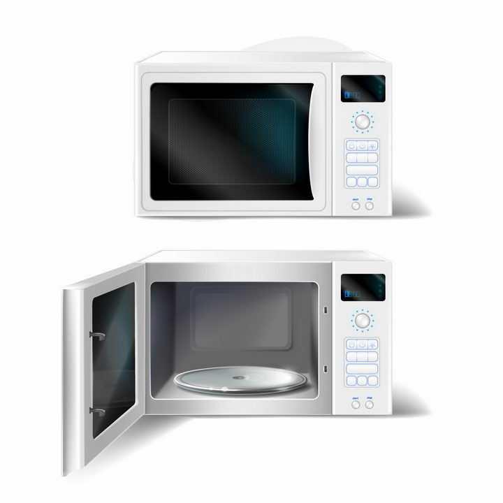 关闭和打开的白色微波炉厨房家用电器png图片免抠矢量素材