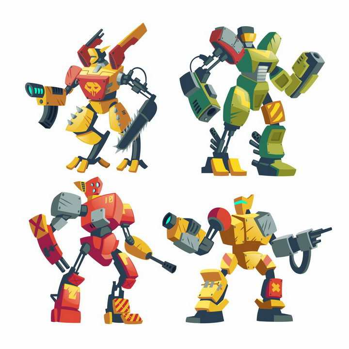 4款卡通漫画风格武装战斗格斗机器人图片png免抠素材