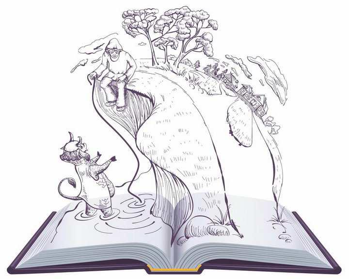 翻开书本中的《神父和他的长工巴尔达的故事》普希金童话故事简笔画png图片免抠矢量素材