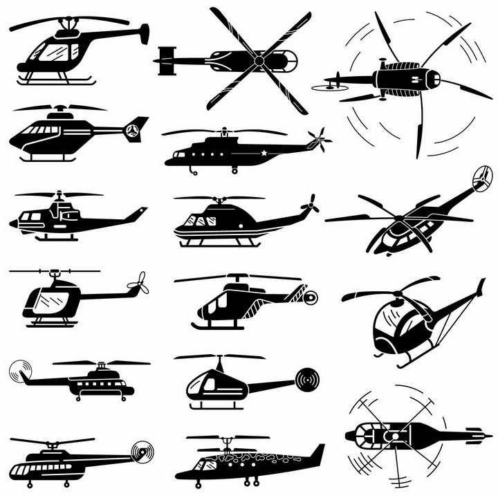 黑色卡通风格直升飞机png图片免抠矢量素材