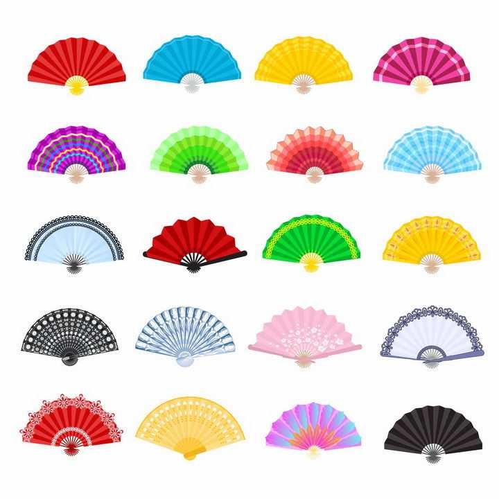 20款彩色的折扇扇子png图片免抠矢量素材