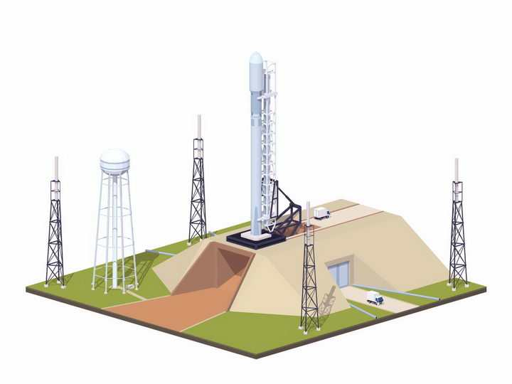 停在火箭发射架上的Space X猎鹰火箭png图片免抠eps矢量素材