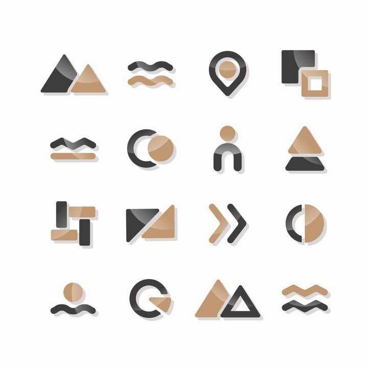 16款黑色金色风格的三角形曲线圆形等装饰图标png图片免抠矢量素材
