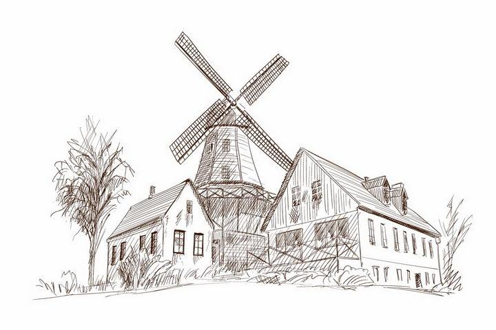 手绘素描风格乡村大风车风景图png图片免抠矢量素材 插画-第1张