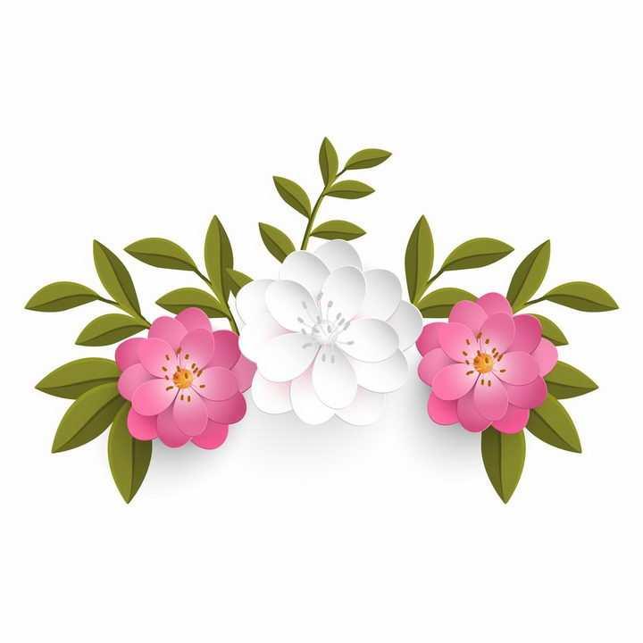 绿叶枝头上的白色和玫红色花朵装饰png图片免抠eps矢量素材