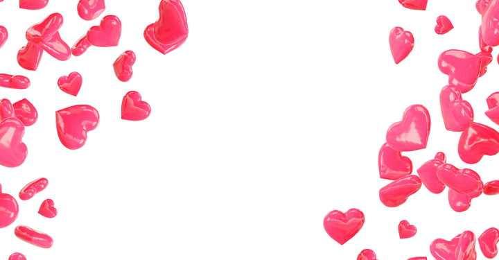 飘落的塑料风格红心心形图案装饰效果图片设计模板素材