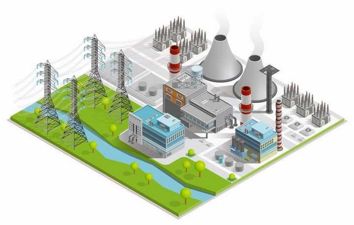 2.5D风格火力发电厂工厂电塔png图片免抠矢量素材