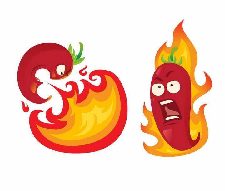 卡通变态辣辣椒正在喷火png图片免抠矢量素材