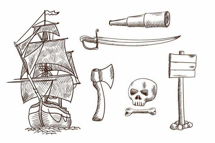 手绘素描风格风帆帆船望远镜斧头骷髅等png图片免抠矢量素材