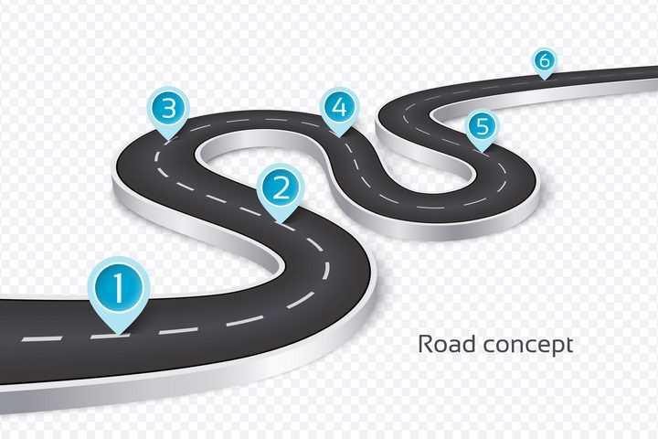 立体风格弯曲的S型公路道路PPT元素图片免抠矢量素材