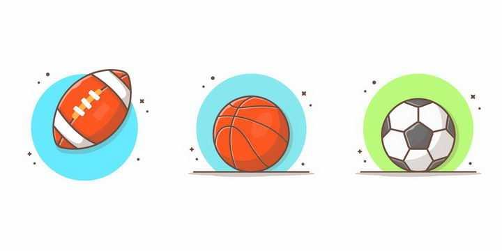3款MBE风格卡通橄榄球篮球足球png图片免抠矢量素材