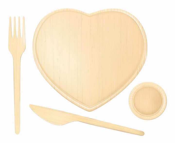 木制西餐刀叉和心形木制餐盘碟子盘子png图片免抠矢量素材