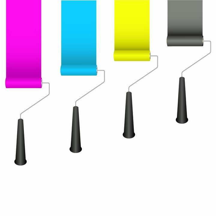 4个拖着彩色油漆涂料的CMYK颜色刷子png图片免抠eps矢量素材