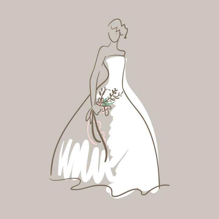 手绘线条素描风格身穿白色婚纱的新娘png图片免抠矢量素材