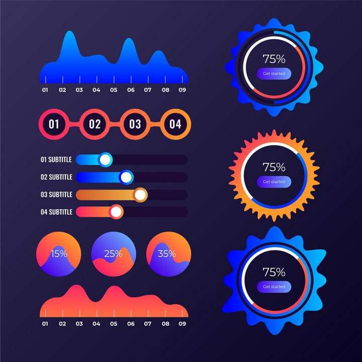 炫酷风格的曲线图步骤图流程图比例图等PPT信息图表图片免抠矢量素材