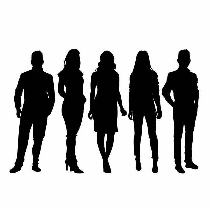 5个站在一起的商务人士职场女性人物剪影png图片免抠矢量素材