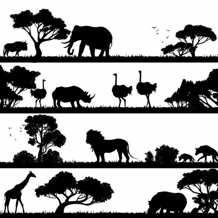 4款非洲大草原上的大象鸵鸟犀牛狮子鬣狗长颈鹿河马等非洲野生动物剪影png图片免抠矢量素材