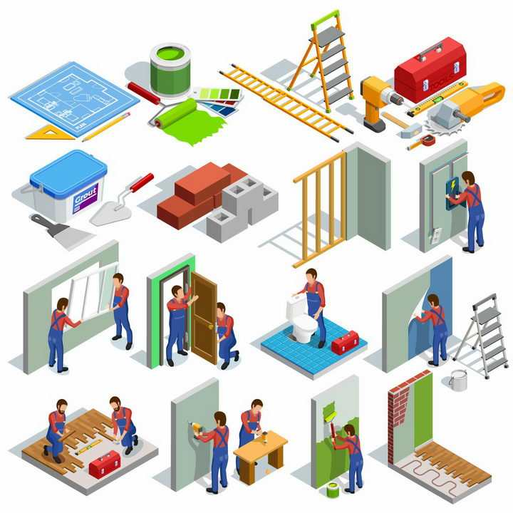 2.5D风格正在装修的建筑工人png图片免抠矢量素材