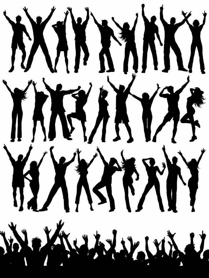 各种高举双手欢呼的年轻人人群剪影png图片免抠矢量素材