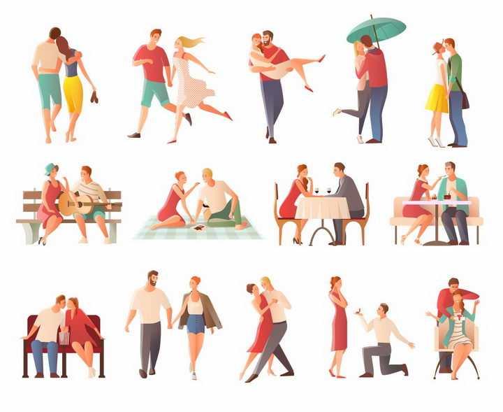 扁平漫画风格情侣夫妻在一起的14个温馨瞬间png图片免抠eps矢量素材