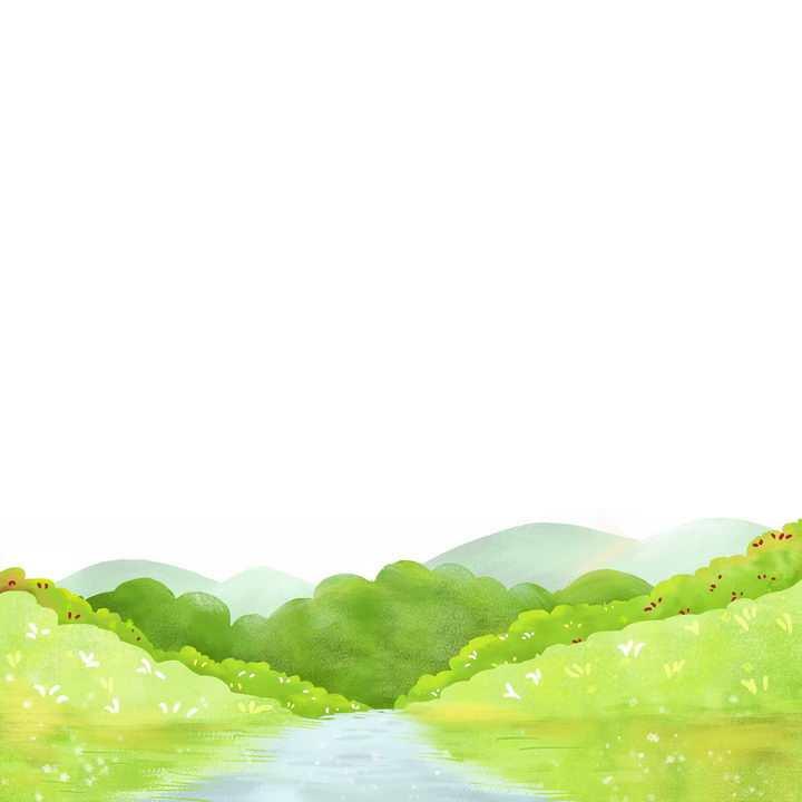 水彩画风格春天的河流和树林风景png图片免抠素材