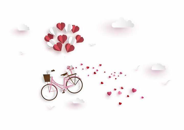 心形折纸气球吊着自行车png图片免抠eps矢量素材