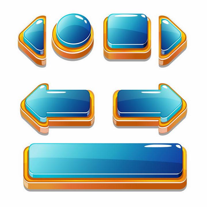 各种蓝色的立体游戏水晶按钮箭头png图片免抠矢量素材 UI-第1张