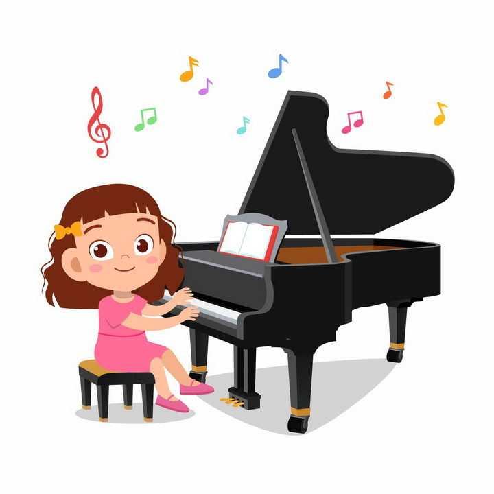 正在学弹钢琴的卡通小女孩png图片免抠矢量素材