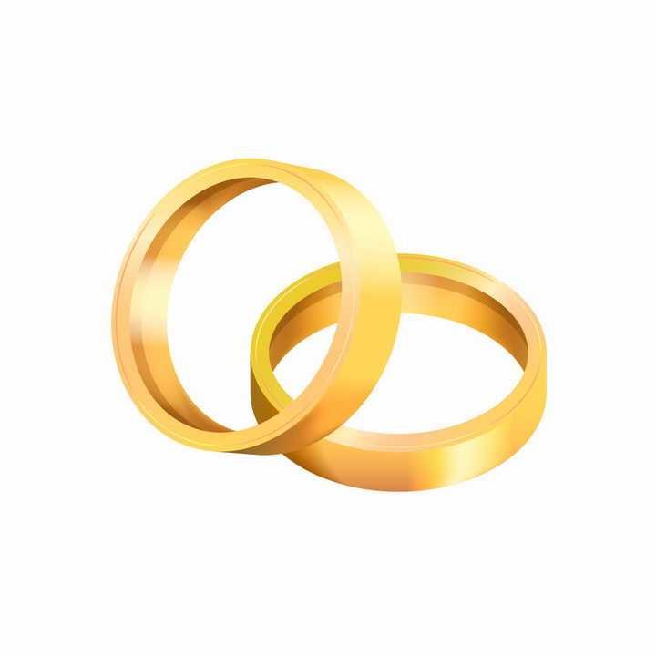 两只订婚金戒指求婚戒指png图片免抠矢量素材