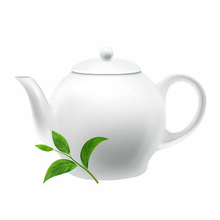 茶叶叶子和白色陶瓷茶壶茶具用品png图片免抠eps矢量素材