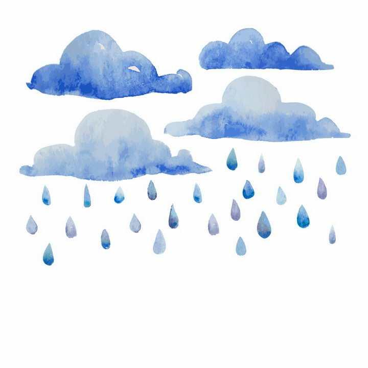 水彩画风格的乌云和掉落的雨水下雨png图片免抠eps矢量素材