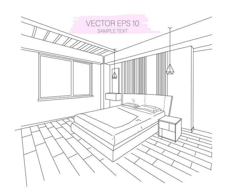 线条手绘卧室房间装修简笔画图片免抠矢量素材