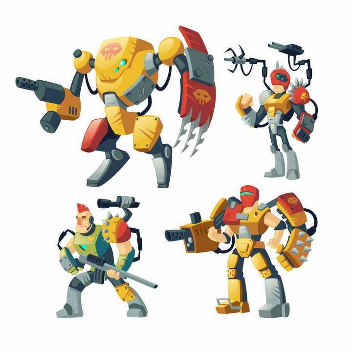 4款卡通漫画风格武装战斗机器人图片png免抠素材