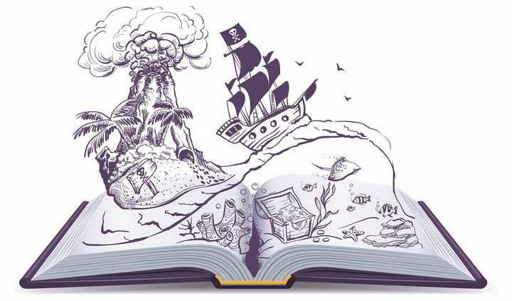 卡通动画插画简笔画风格翻开书本里加勒比海盗的童话故事png图片免抠矢量素材