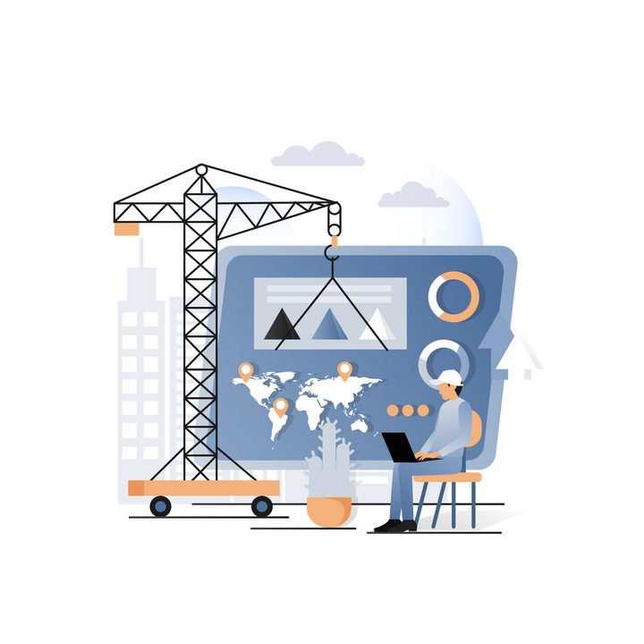 扁平化风格抽象操作起重机建设网页网站建设png图片免抠矢量素材