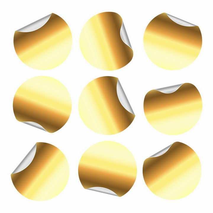 金属光泽金色圆形贴纸不干胶标签png图片免抠eps矢量素材