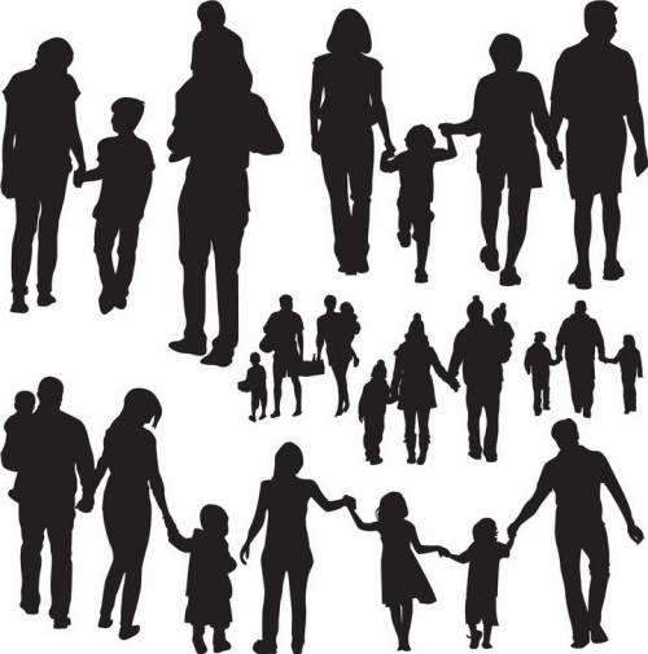 各种一家三口一家四口爸爸妈妈和孩子手牵手亲子人物剪影png图片免抠矢量素材