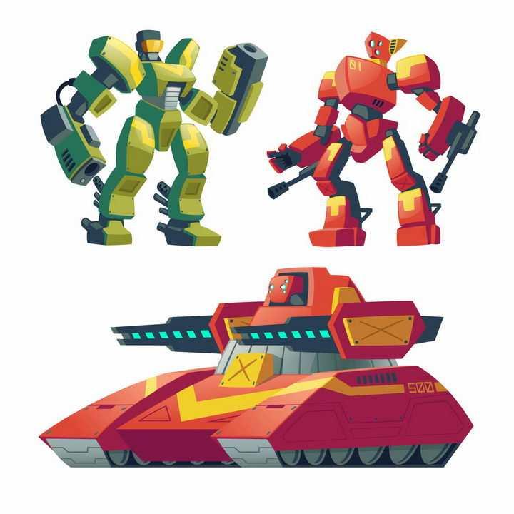 卡通漫画风格可以变形为坦克的变形金刚机器人图片png免抠素材