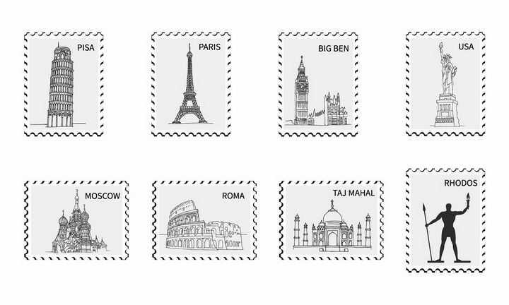 8款黑白色各地知名旅游景点纪念邮票png图片免抠矢量素材